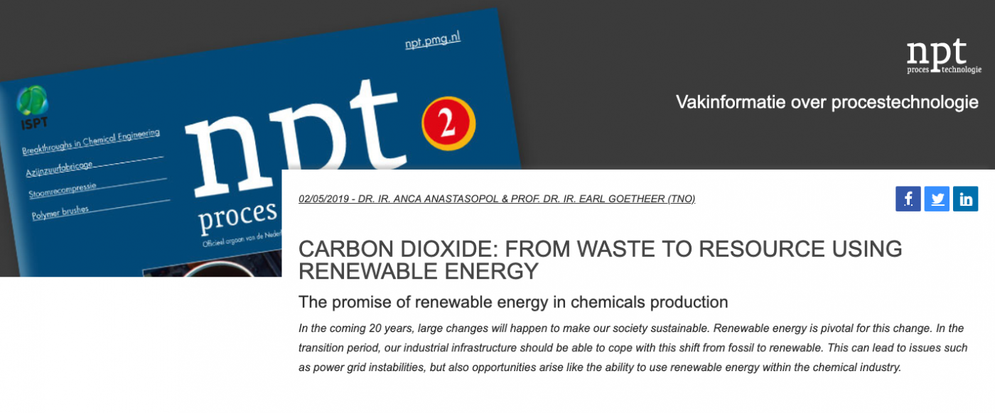 Carbon dioxide: From waste to resource using renewable energy